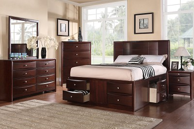 Queen Espresso Finish Solid Wood Platform Bed Frame with Under bed Drawers