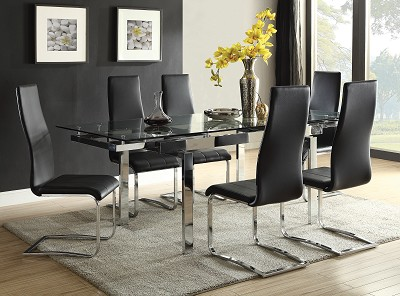 5 Pcs Contemporary Dining Room Set With Glass Table
