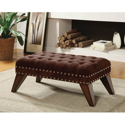 Chocolate Fabric Upholstered Bench