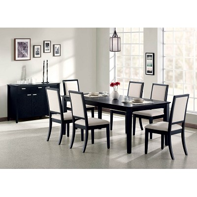 7 Piece Black Finish Contemporary Dining Set