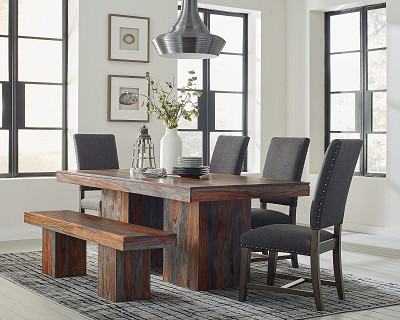 Binghamton Rustic Dining Table Set with Bench-color option
