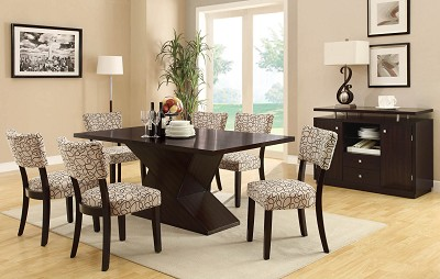 7 Piece Modern Table Set with Upholstered Chairs