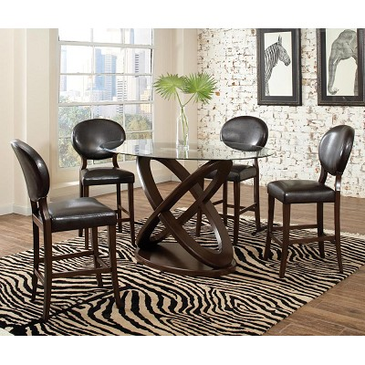 Daphne 5 Piece Counter Height Table Set With Oval Tempered Glass