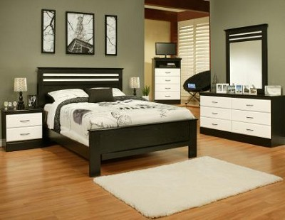 5 Piece Black and White Queen Bedroom Set