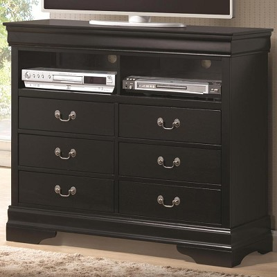 Black Louis Philippe Media 6 Drawer Chest