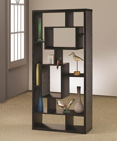Asymmetrical Cube Black Book Case With Shelves