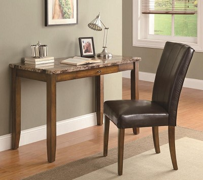 2 Piece Faux Marble Writing Table And Chair Set