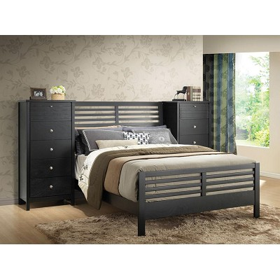 Queen Black Wall Unit Bed Frame