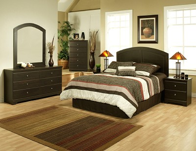 5 Piece Espresso Finish Queen Panel Bed Set