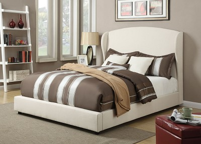 White Linen Queen Bed Frame