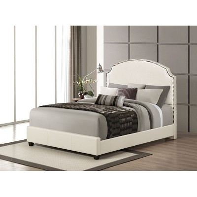 Cream Leather Queen Bed Frame