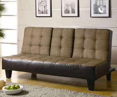 Contemporary Tan/Dark Brown Sofa Bed