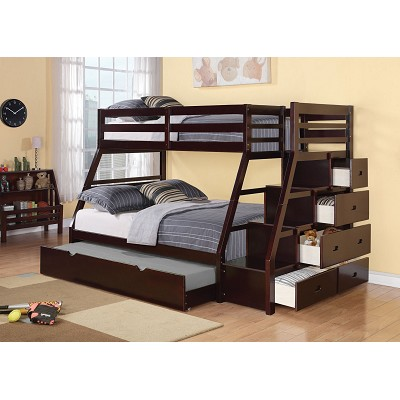 Twin/Full Bunk Bed with Storage Ladder and Trundle