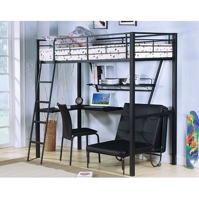 Black Metal Twin Loft Bed with Desk