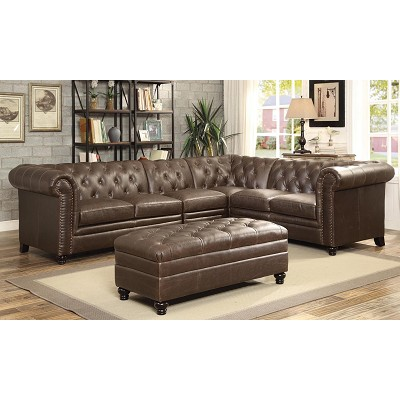 On Tufted Sectional Sofa With Armless Chair