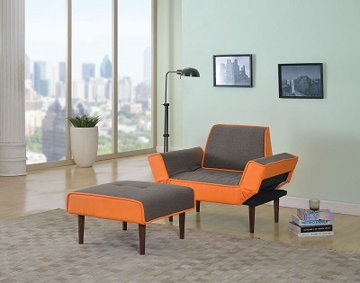 2 Piece Gray/Orange Chair and Ottoman