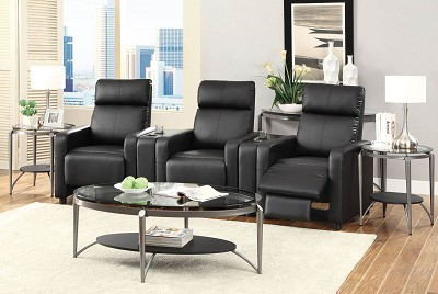 Black Leather Theater Recliner Chair
