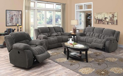 2 Pcs Casual Pillow Padded Power Reclining Sofa Set