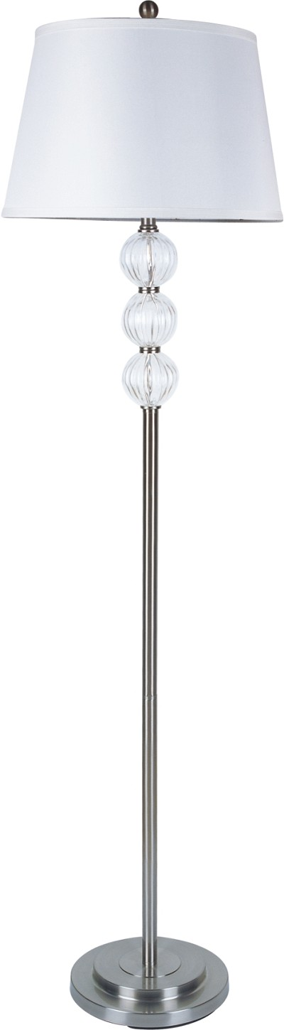 Silver  with Chrystal Balls Floor Lamp