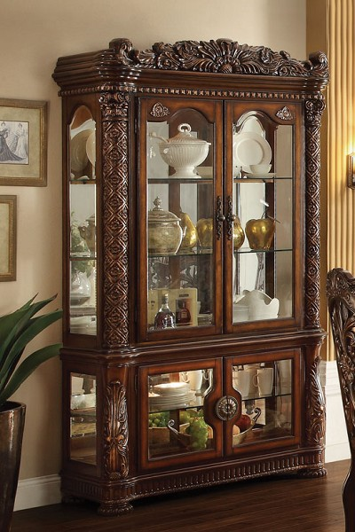 Elegant Cherry Finish Curio Cabinet
