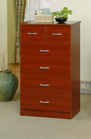6 Drawer Cherry Finish Chest
