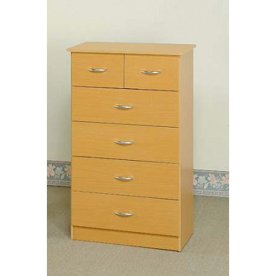6 Drawer Natural Finish Chest
