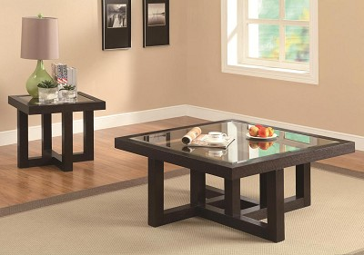 Contemporary Coffee Table with Tempered Glass Top