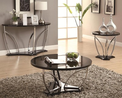 Contemporary Faux Marble Coffee Table with Chrome Legs