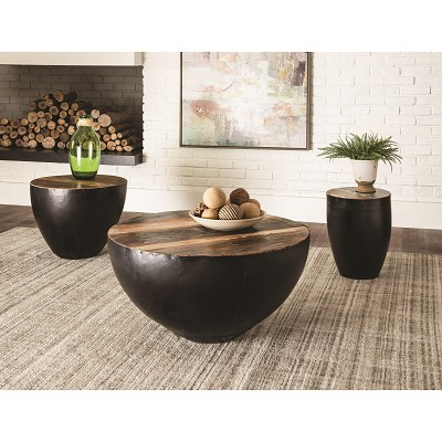 Coffee Table with Black Drum Base
