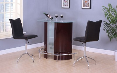 3 Piece Wine and Chrome Finish Bar Set