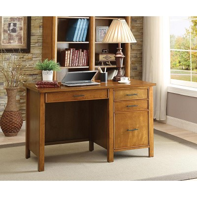 Honey Writing Desk with File Drawer and Outlet