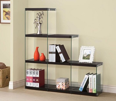 Glossy Black Book Shelf
