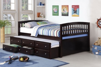 Full Captain Bed with Twin Trundle - Espresso