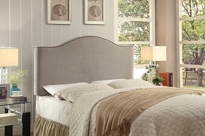 Queen / Full Convertible Headboard - Light Grey Velvet