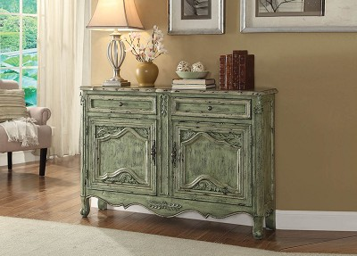 Antique Green Finish Console Table