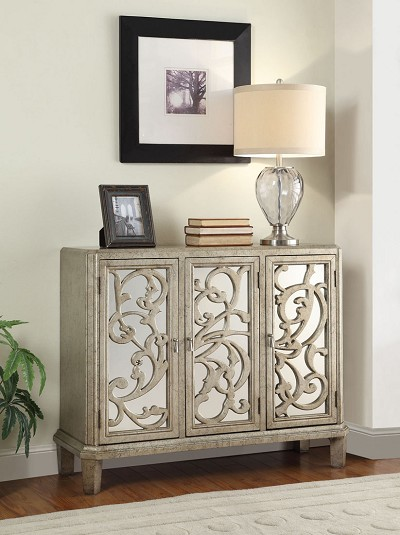 Silver/Gray Finish Console Table