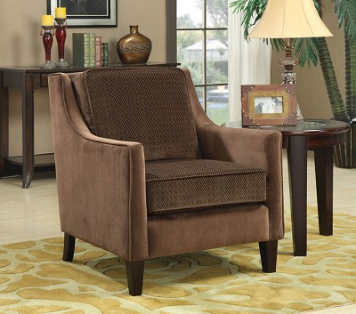 Basket-Weave Micro velvet Accent Brown Chair