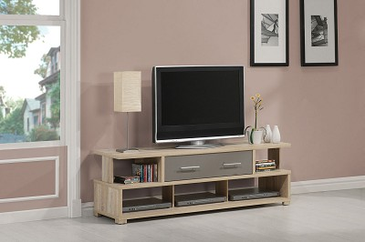 Oak Finish TV Stand with 2 Drawers