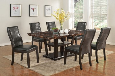 7 Pcs Espresso Wood Finish Dining Set with Marble Top
