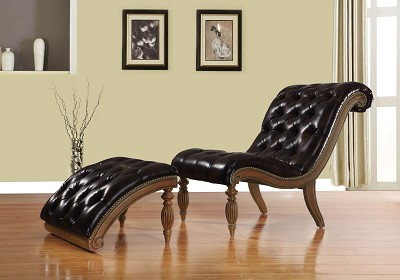 2 Piece Brown Bonded Leather Chair and Ottoman with Cherry Finish Wood