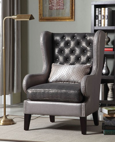 Giant Elegant Silver Button Chair with pillow