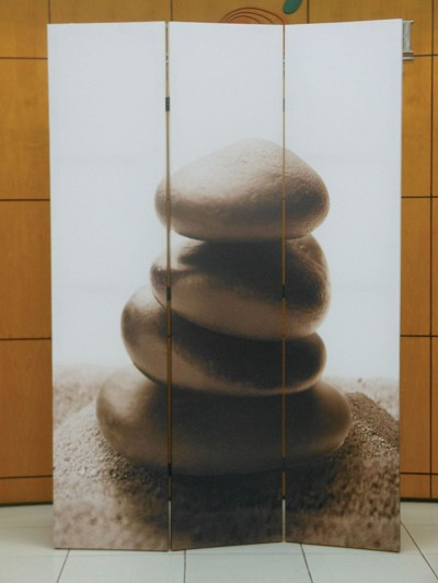 3 Panel Divider with Rock Pebbles Stacked picture