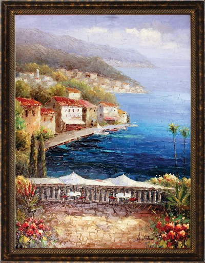Mediterranean Coffee Central Oil Canvas Painting