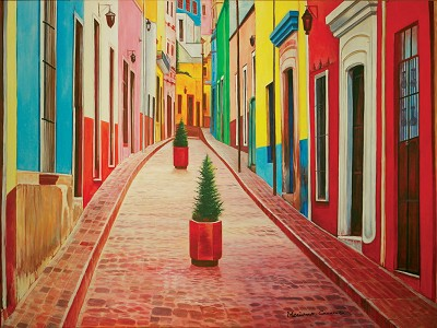Streets of Guanajuato Oil canvas Painting