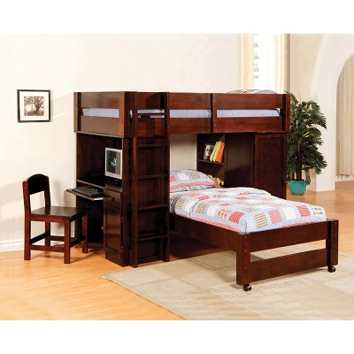 All In One Wooden Twin Loft Bed With Desk