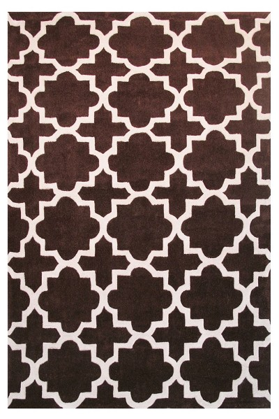Brown and White LA Rug