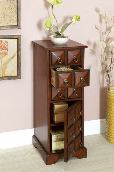 Cherry Finish Cabinet Jewelry Chest