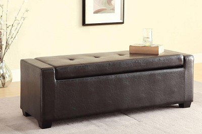Faux Leather Storage Ottoman