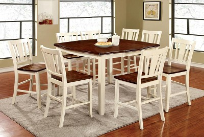 9 Pcs Cherry/Vintage White Counter Height Dining Table Set