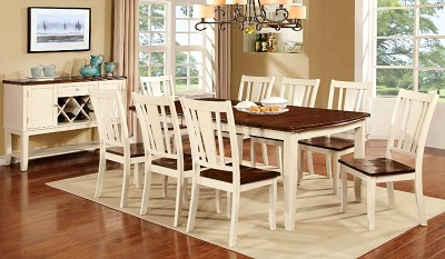 9 Pcs Cherry/Vintage White Dining Table Set